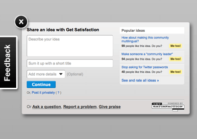 GetSatisfaction Feedback Widget