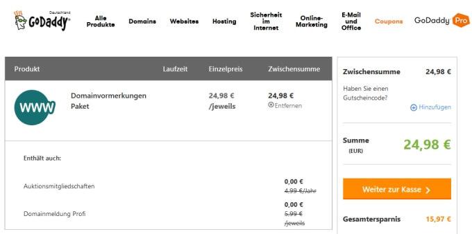 GoDaddy Domainvormerkung Preis